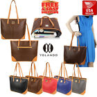 YOLANDO Leather Tote Bag Handbag Shoulder Messenger Hobo Vin