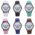 New Women 's Sport Fashion Leather Band Analog Quartz Round Wrist Watches