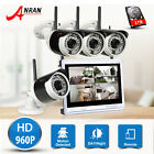 "1TB 4/8CH 960P 12""LCD Monitor Wireless Security Camera System WiFi NVR Outdoor"