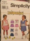 Simplicity 7094 Girls Top and Shorts Pattern MANY SIZES OOP VINTAGE