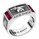 Men's 8mm 0.925 Sterling Silver Shriner Simulated Ruby Masonic Ring Band