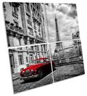Eiffel Tower Vintage Red Car Picture MULTI CANVAS WALL ART Square