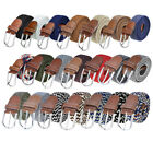 Unisex Elastic Fabric Woven Stretch Belt Genuine Leather Inlay,Many Colors