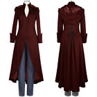 Gothic Vintage Womens Steampunk Victorian Swallow Tail Long Trench Coat Jackets