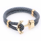 Mens Multilayer Stingray Leather Wrap Rope Anchor Bangle Bracelet Wristband #526