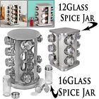 NEW Stainless Steel 12 16 Jar Revolving Spice Rack Stand Carousel Rotating Glass