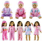 Baby Gift Born Doll Clothes sleeping Doll Pajamas Suit Fit Zapf Doll Jumpsuit