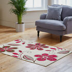 CLEARANCE RUG FLORAL CREAM PINK ATTRACTIVE DESIGN QUALITY NEW MODERN RUG ON SALE