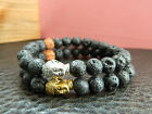 Mens Natural Black Lava Rock With Bodhi Seed Beaded Buddha Bracelet .Chakra.Gift