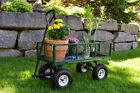 Wheeled Garden Cart Steel Yard Utility Wagon Dumper Lawn Dump Heavy Duty Wheels