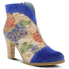 New In Box L'Artiste Women's VASO-BLUM Blue Multi Suede Pull On Booties Boots
