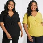 Ex M&S Size 18-32 Black Mustard Yellow Cross Over Blouse Top