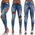 WOMEN'S ROSE EMBROIDERY JEANS Sexy Open Ripped Skinny Denim  Frayed Hem SIZE 8
