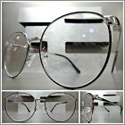 OVERSIZED EXAGGERATED RETRO Style READING EYE GLASSES READERS Silver Oval Frame