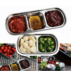 1/2/3/4 Compartments BBQ Dip Plate Stainless Steel Seasoning Bowl Fr Camping BBQ