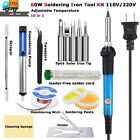 60W Electric Soldering Iron Welding Tool Kit Solder Wire Tweezers Set 110V 220V