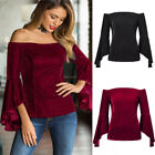 Women Off The Shoulder Velvet Long Sleeve Flare Sleeve Blouse Size S-XL-2 Colors