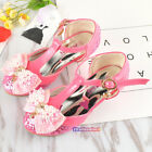 New Summer Kids Young Girls Bling High Heeled Sandals Close Toed Pearls Bow