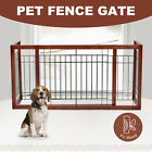 Adjustable Wood Dog Gate Indoor Solid Construction Pet Fence Playpen Free Stand