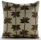 Zardozi Lotus Flower 16X16in Taffeta Sage Green Pillows Cover-Brown Lotus Dreams