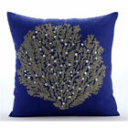 Beaded Sea Weeds 16X16 in Cotton Linen Royal Blue Cushion Covers-Along The Shore