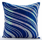 Sequins Swirls 16X16in Art Silk Royal Blue Decorative Pillows Cover-Royal Formal