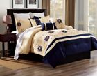beige comforter sets - BEDROOM BEIGE CREAM DUVET NAVY BLUE FLOWERS COMFORTER BED COVER SET ALEX #9