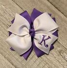 White and Lavender Monogram Hair Bow