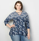 AVENUE Paisley Sharkbite Top Womens Plus Size