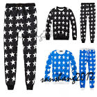 Men Womens Star Print Pullover Sweatshirt Tops Jogger Tracksuit Baggy pants New