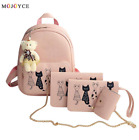 4Pcs/Set Small Women Backpack School Bags Leather Shoulder Bag Purse