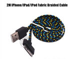 2M APPLE iPhone /4/4S,iPad 2,3,iPod 4,Fabric Braided Flat Charger Sync USB Cable