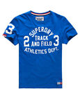 Neues Herren Superdry Trackster T-Shirt Chicago Blau