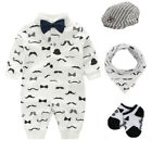 Newborn boys clothes jumpers wedding party tuxedo outfits set baby shower gift