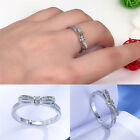 Silver Plated Sparkling Bow Knot Stackable Ring Elegant Women Wedding Jewelry FO