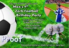 Zorb bubble football (with photo) Birthday Party invitations / thank you cards
