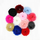 Set of 12 Furry Faux Rabbit Fur Hair Bands Elastic Hair Ties Ponytail Holder