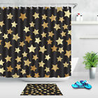 Black and Gold Shower Curtain Set Stars Pattern 180CM Bathro