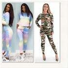 New Womens Ladies Multi Rainbow & Guilty Camouflage Lounge Wear 2pcs tracksuit