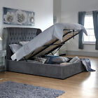 Free Delivery - GFW Dakota Soft Chenille Ottoman Bed Frame - Mattress Offers