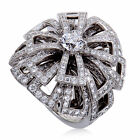 Chanel 18K White Gold Diamond Pave Flower Cocktail Ring GIA Certified