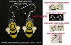 Bee Earrings Honey Bees Bumble Bee *OPTION* Hypoallergen Pierced OR Clip On