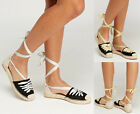 Womens Ladies Flat Wedge Lace Up Espadrille Summer Sandals Sparkly Shoes Sizes