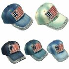 Funny  Girls Women Rhinestone Pretty  Flag Baseball Cap Jeans Adjustable Curved