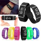 Sports Mens Womens Rubber LED Watch Date Bracelet Digital Wrist Silicone Watch image