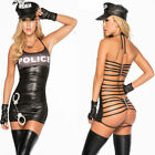 leather cop costume - Black Police Dress Cop Uniform PVC Leather Cosplay fancey Costume Sexy Lingerie