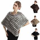 Real Rabbit Fur Knitted Wrap/Shawl Comfortable Poncho Womens Warm Cape Pullover