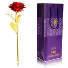 Genuine 24K Gold Plated Rose Valentine Mothers Day Girlfriends Flower Decor Gift