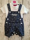 Baby Boy Navy Short Dungarees and T-Shirt Set / Outfit
