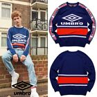 Umbro Retro Pullover Sweater Sweats Long Sleeve Side Taping Detail Blue Sz M-XL
